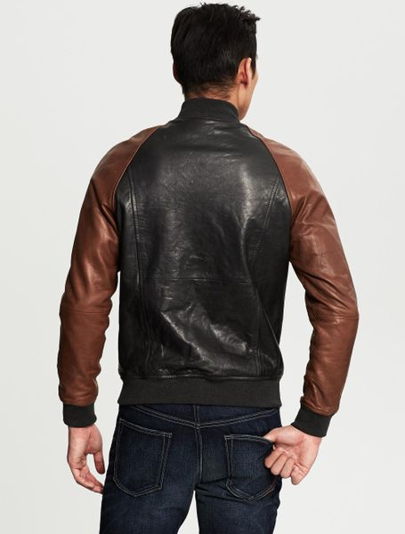 Banana Republic Heritage Leather Baseball Jacket Charcoal in Gray for ...