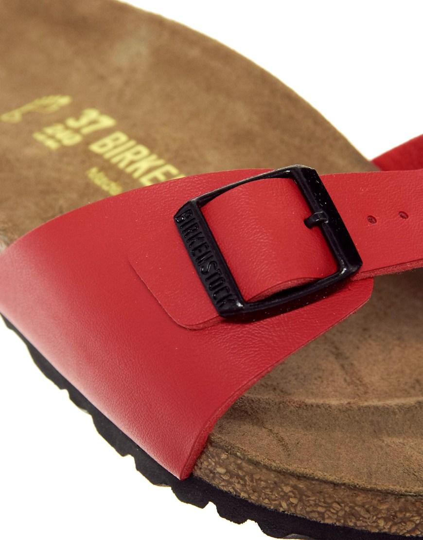 Birkenstock Cherry Red Madrid Flat Sandals In Red