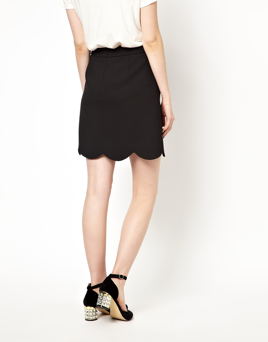645242f7e Boutique by Jaeger Mini Skirt with Scallop Edge in Black - Lyst
