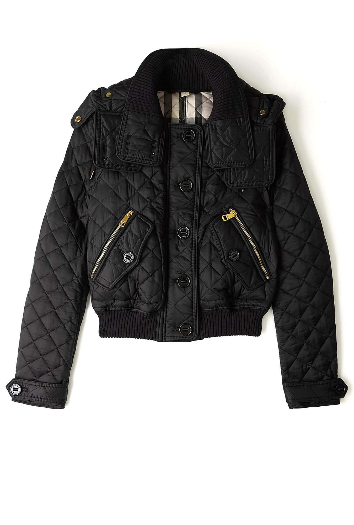 Burberry Brit Detachable Hood Quilted Bomber Jacket In