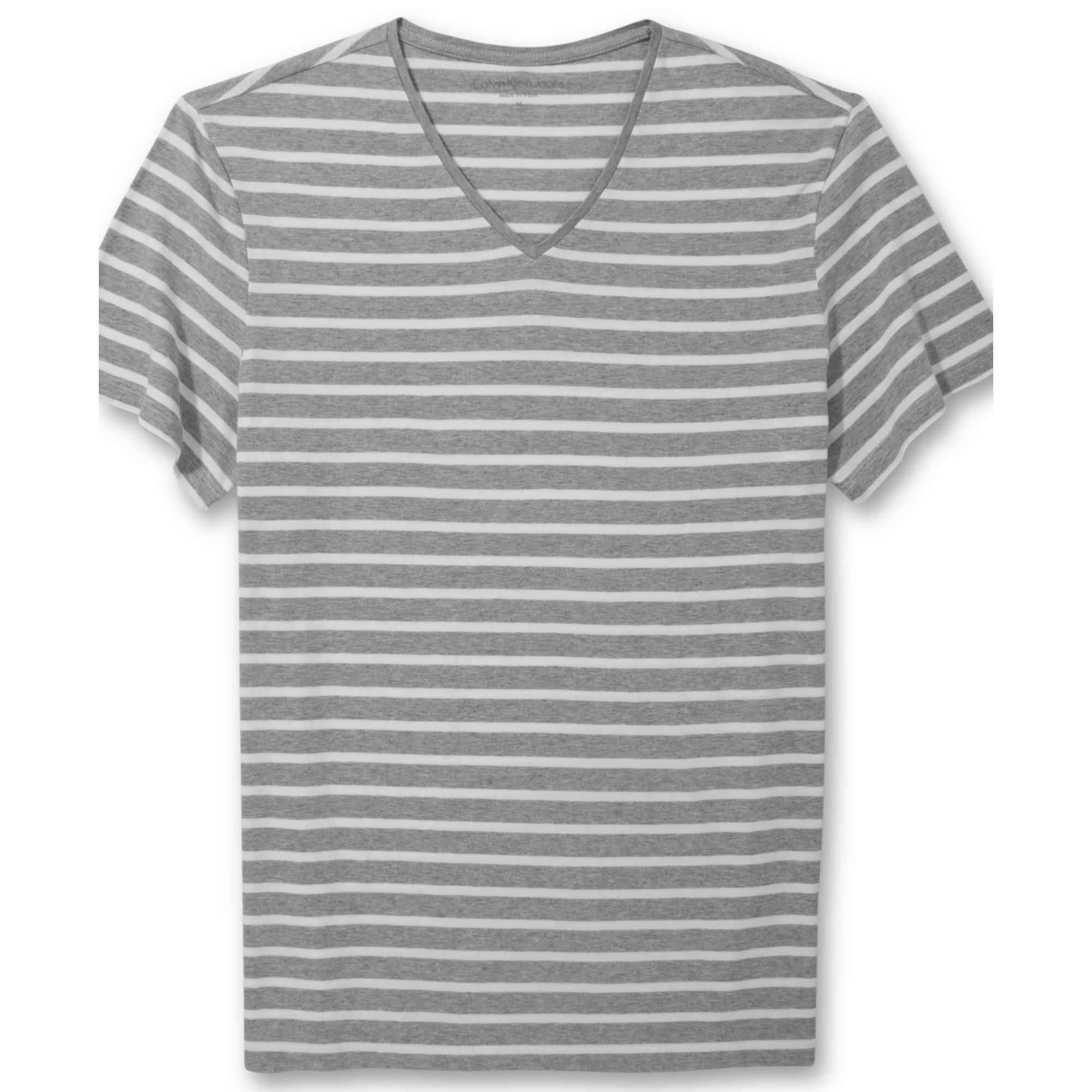 83df1d2ec51f Calvin Klein Striped Vneck Tshirt in Gray for Men - Lyst