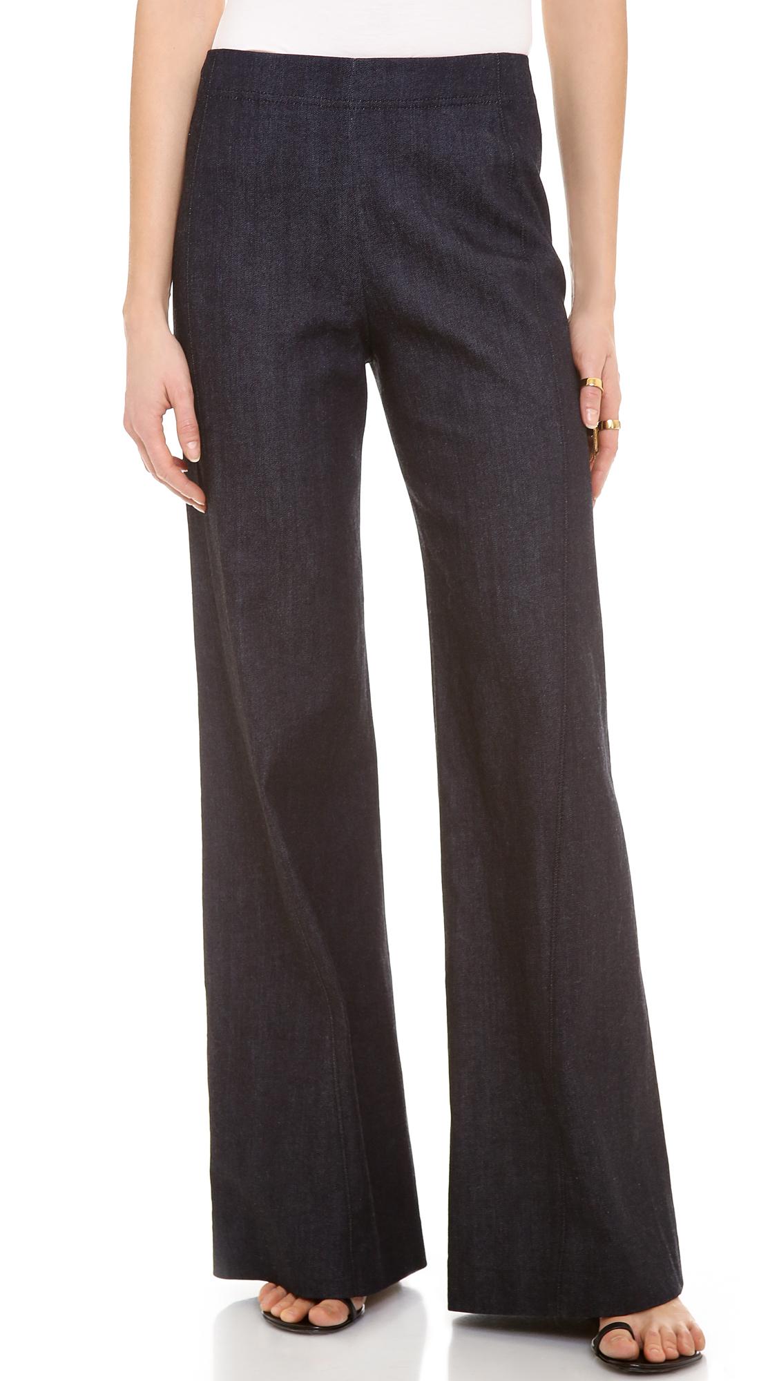 Donna Karan High Waist Wide Leg Pants In Blue Lyst