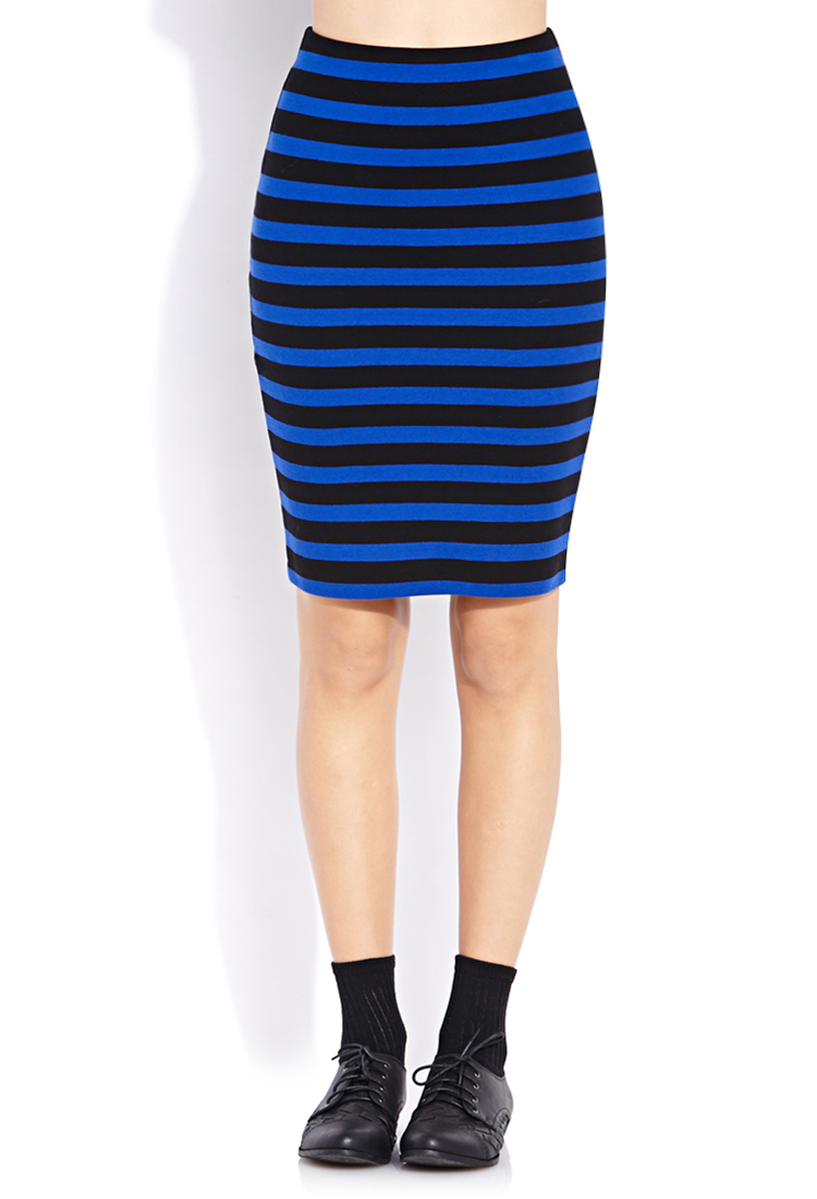 Forever 21 Sweet Stripes Pencil Skirt in Blue | Lyst