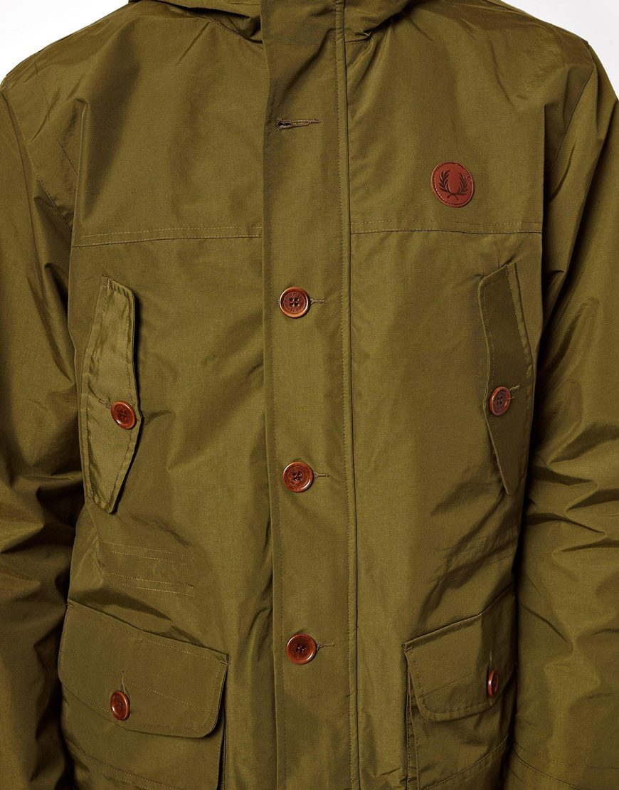fred perry parka with hood in green for men lyst. Black Bedroom Furniture Sets. Home Design Ideas