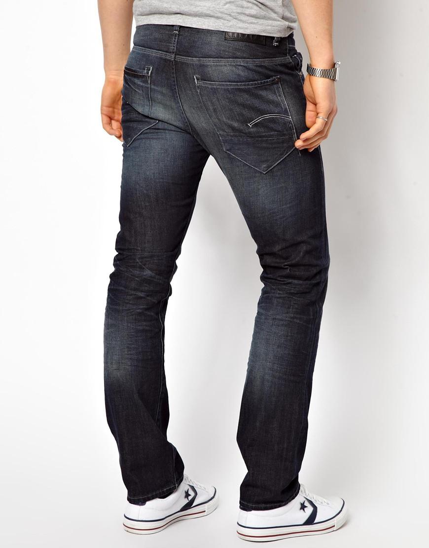 star raw jeans new radar slim dark aged dk aged in blue for men. Black Bedroom Furniture Sets. Home Design Ideas