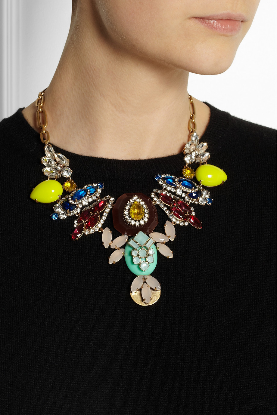 Lyst J Crew Goldtone Crystal Necklace In Yellow