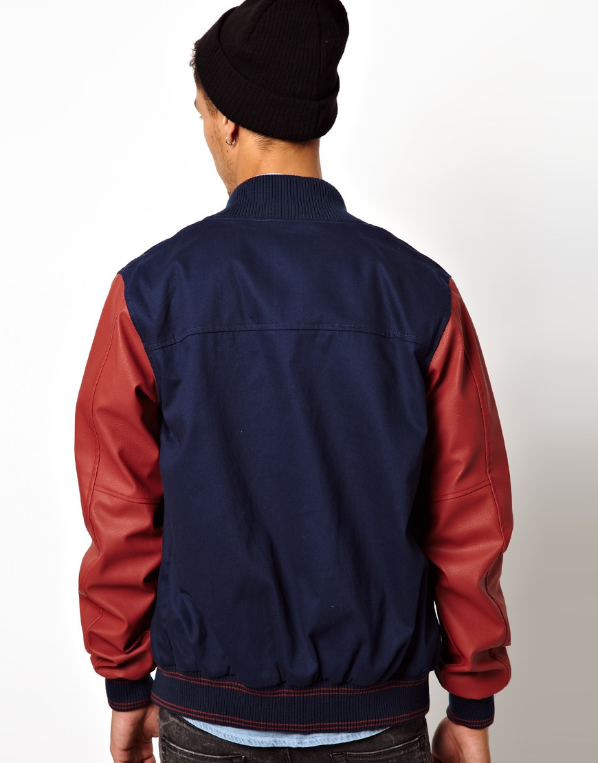 Kr3w Baseball Jacket Faux Leather Sleeves In Blue For Men (Midnight) | Lyst