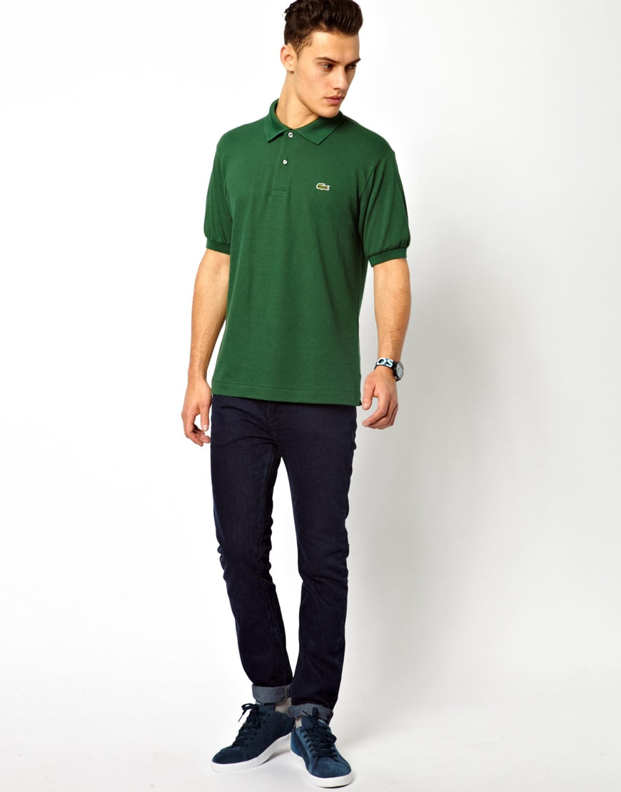 Lyst lacoste polo shirt with crocodile in green for men Man in polo shirt