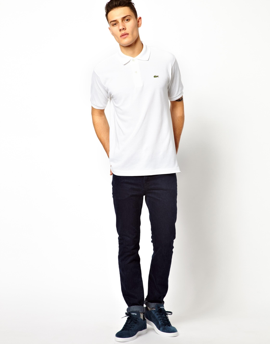 Lacoste Polo Shirt With Crocodile In White For Men Lyst: man in polo shirt