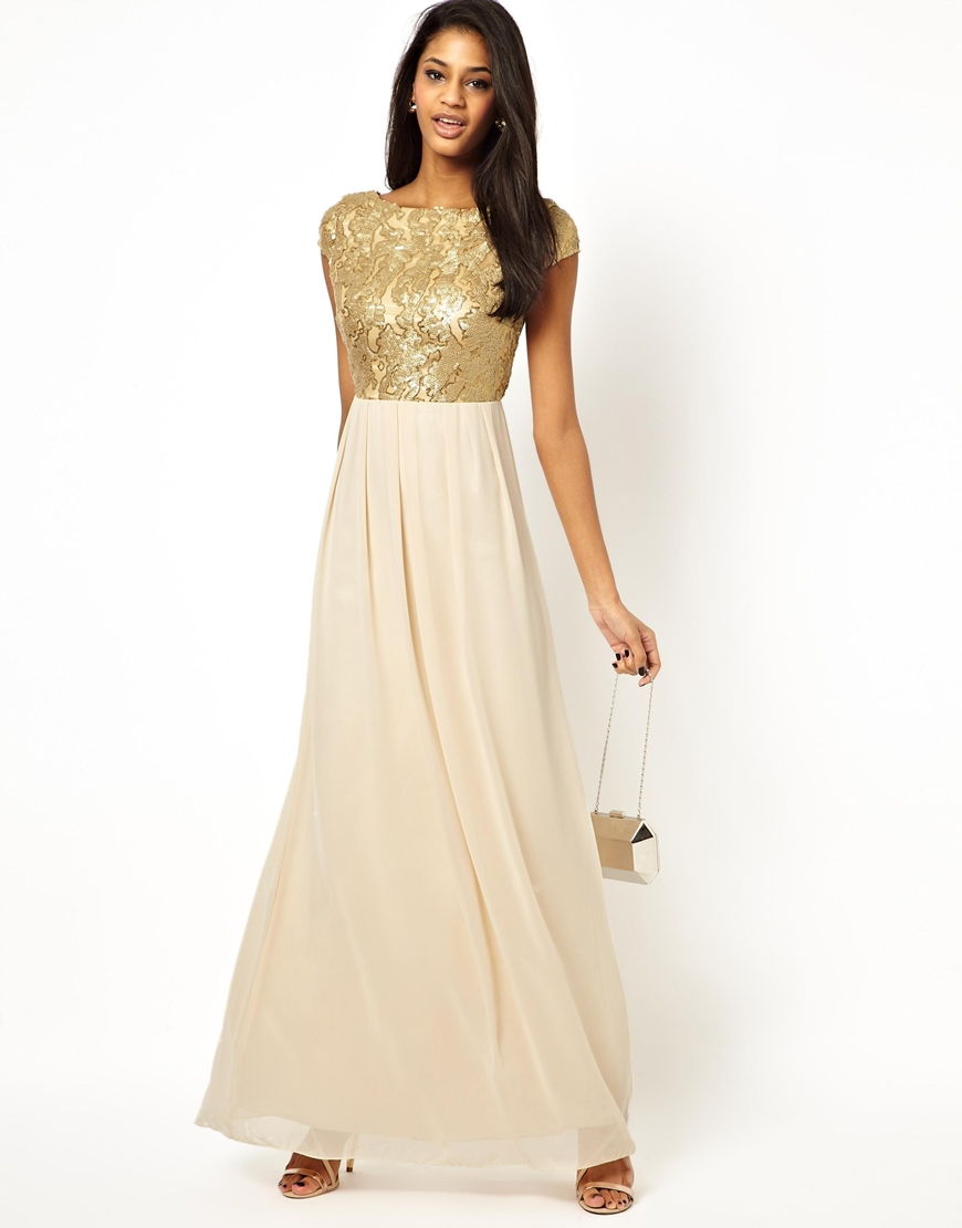 Lyst - Little Mistress Maxi Dress with Sequin Bodice in Metallic