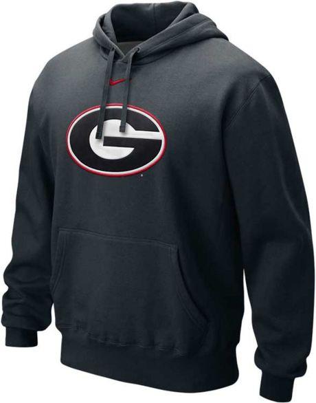 Nike Mens Georgia Bulldogs Classic Logo Hoodie In Black