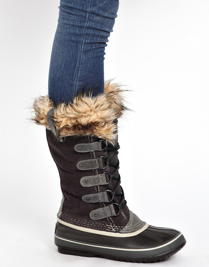lyst sorel joan of arctic brown faux fur cuffed boots in. Black Bedroom Furniture Sets. Home Design Ideas