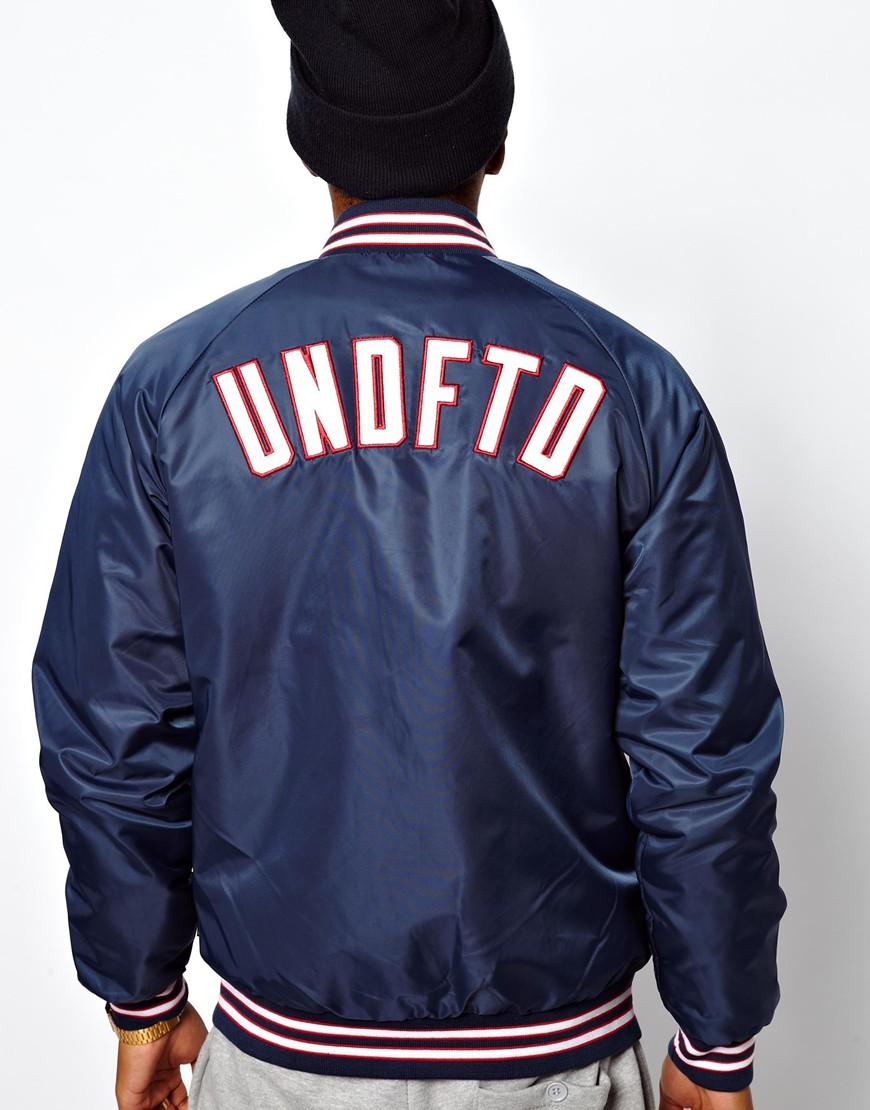 Undefeated Baseball Jacket Tiger Satin Back Logo in Blue for Men