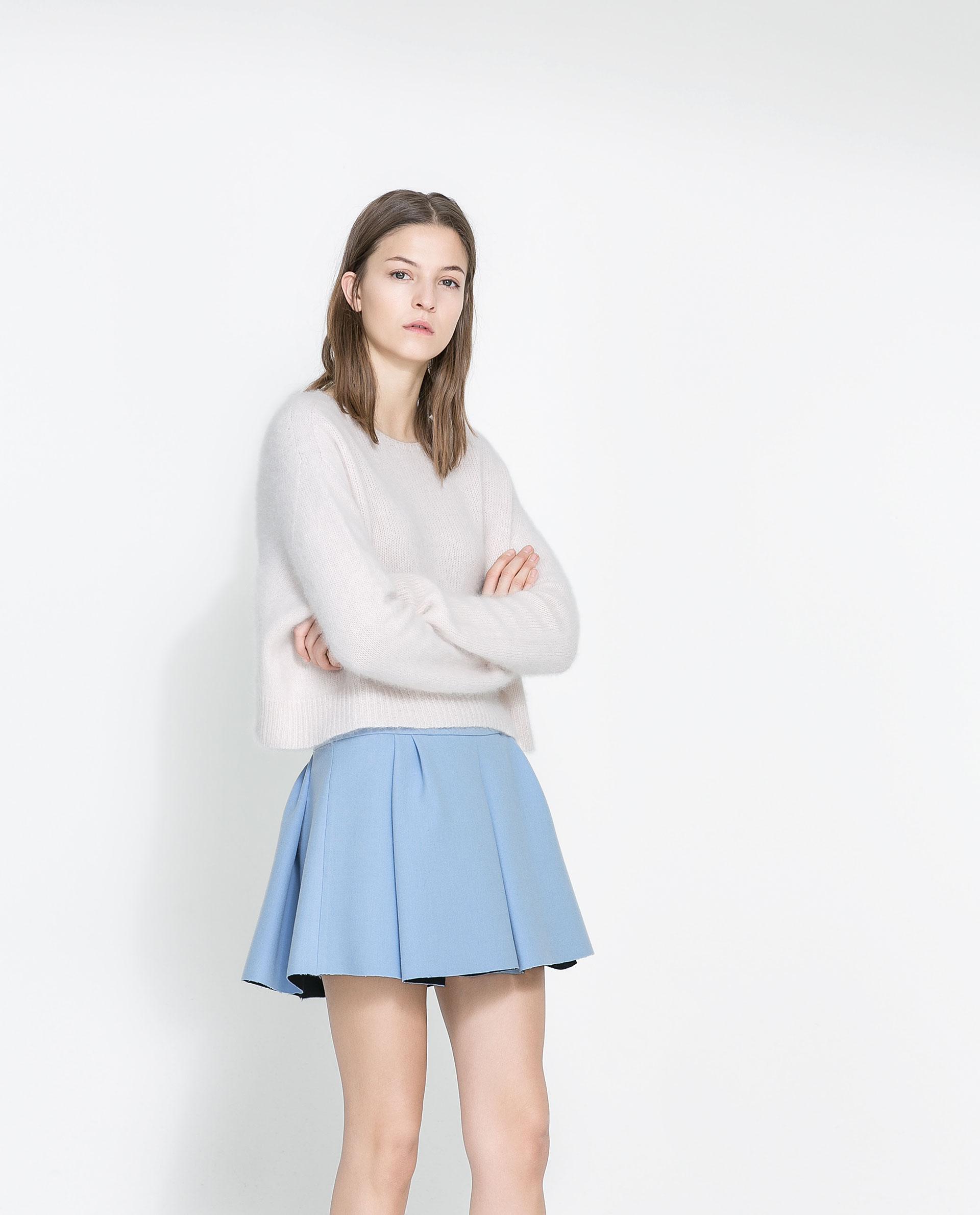 Blue Pleated Mini Skirt 66