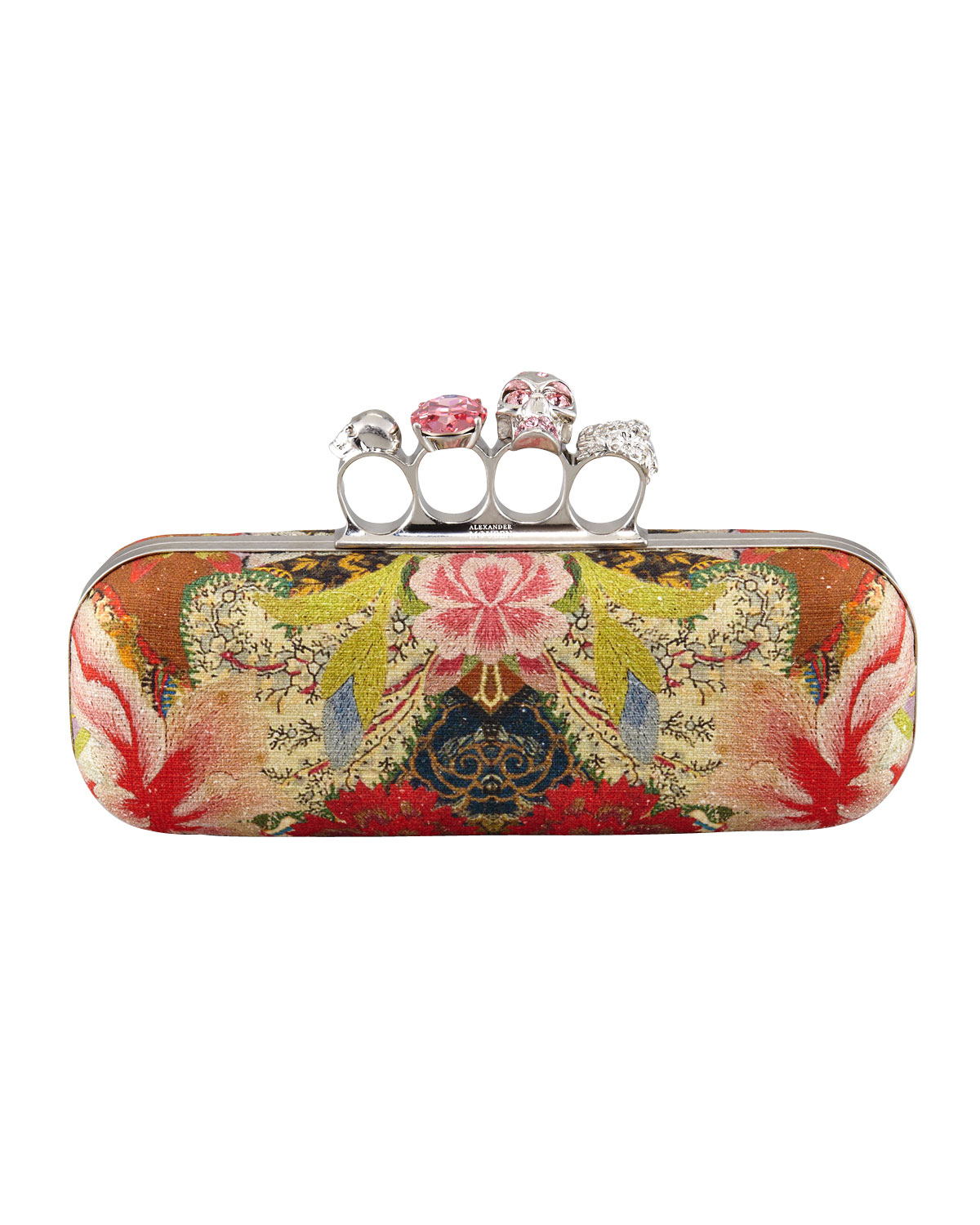 mcqueen floral print knuckle duster clutch