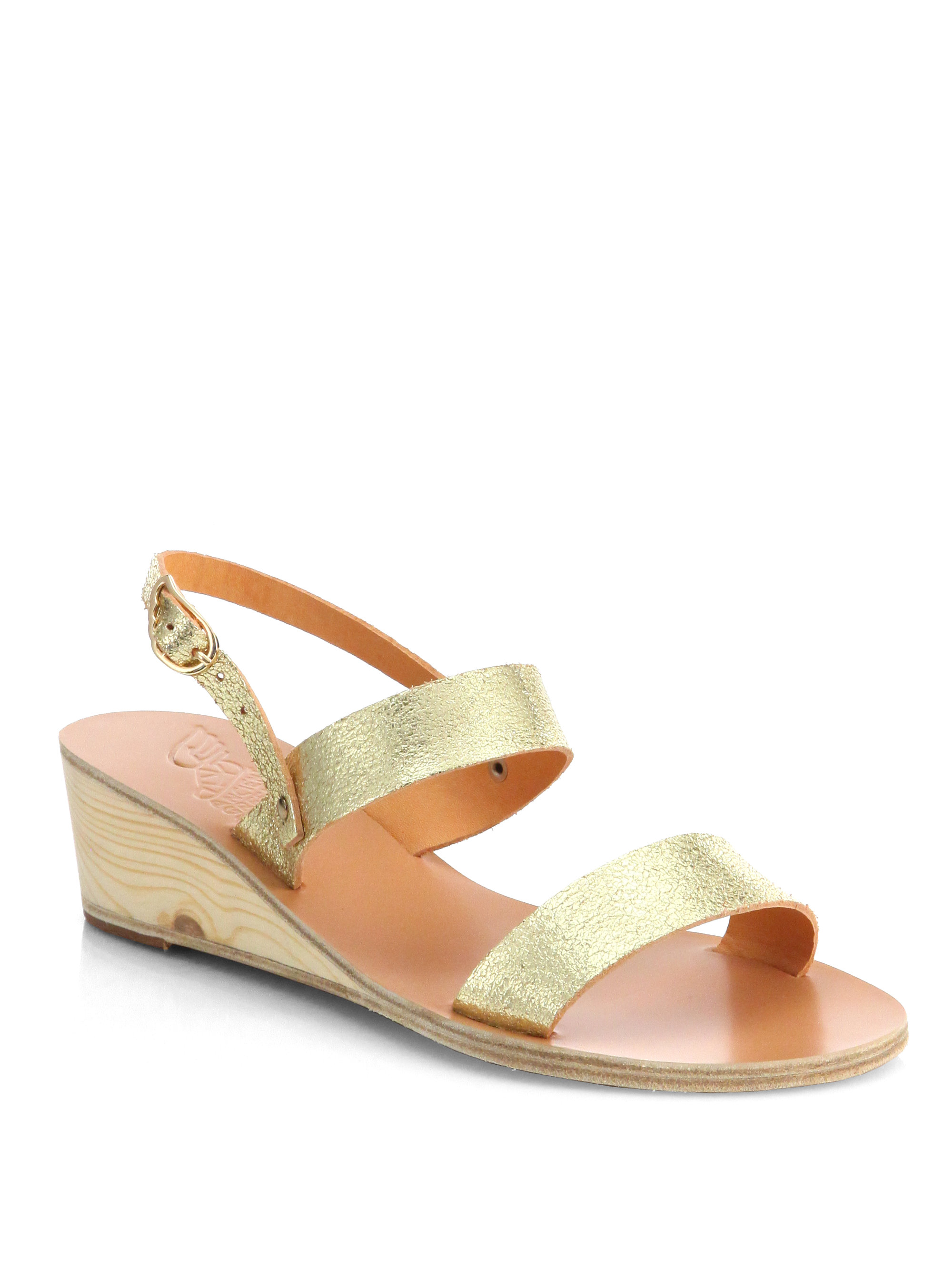Lyst Ancient Greek Sandals Clio Metallic Leather Wedge