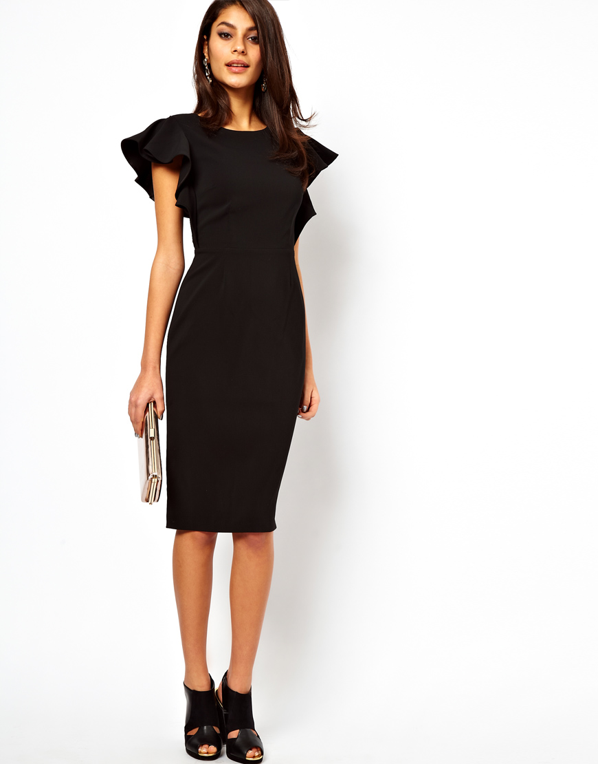 Asos Pencil Dress With Ruffle Sleeves In Black Lyst