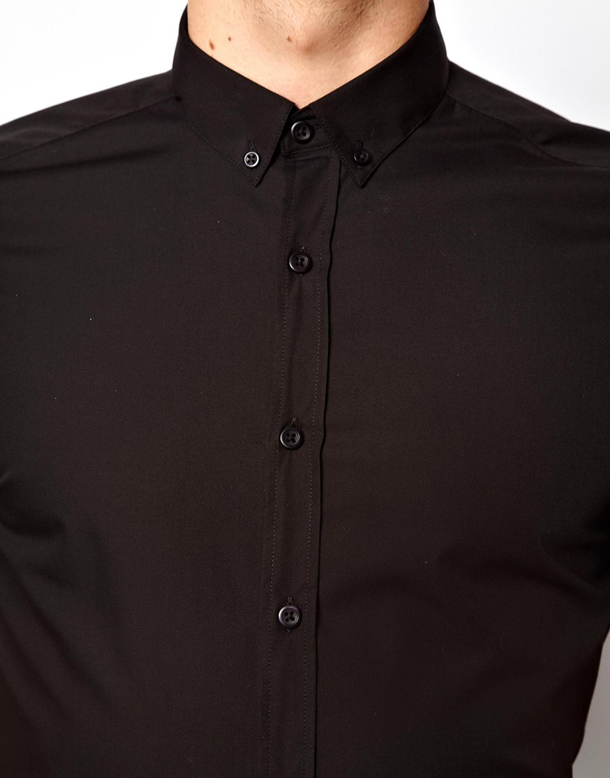 Asos Smart Shirt in Short Sleeve with Button Down Collar in Black ...