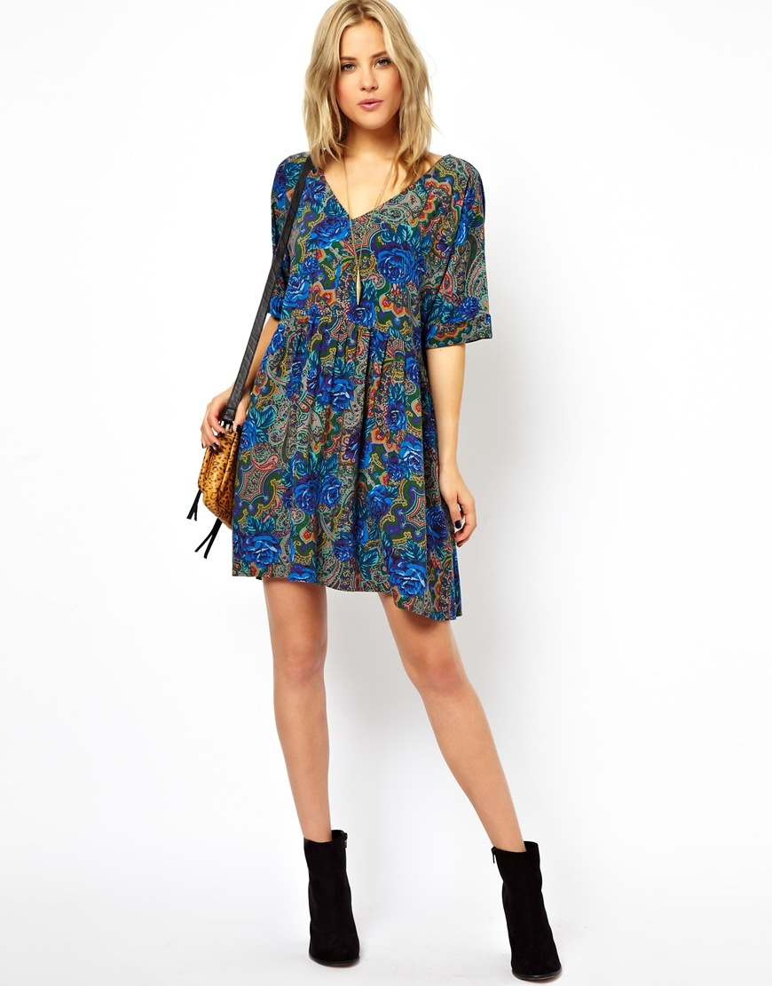 362bb59fa0 ASOS Smock Dress In Paisley And Floral Print in Blue - Lyst