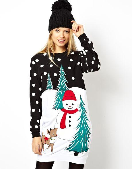 Asos Christmas Jumper Dress In Black