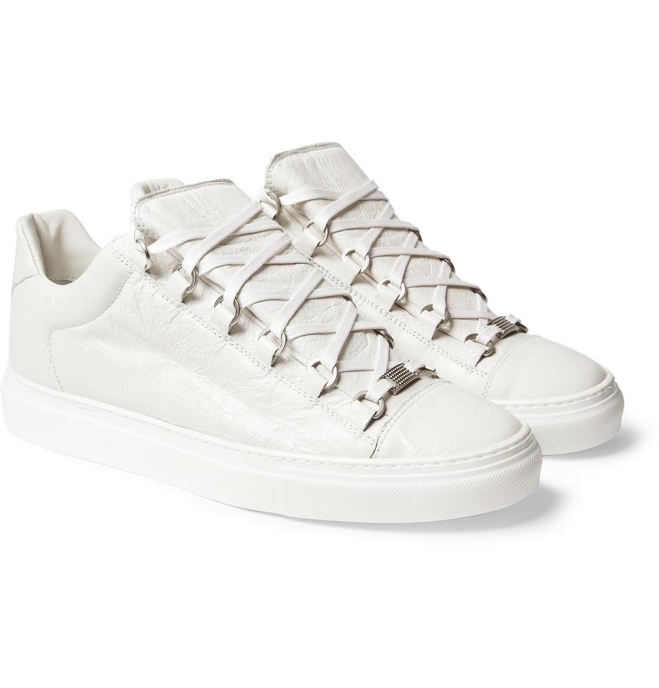 ea8e859f79f65 Lyst - Balenciaga Arena Creased Leather Low Top Sneakers in White ...