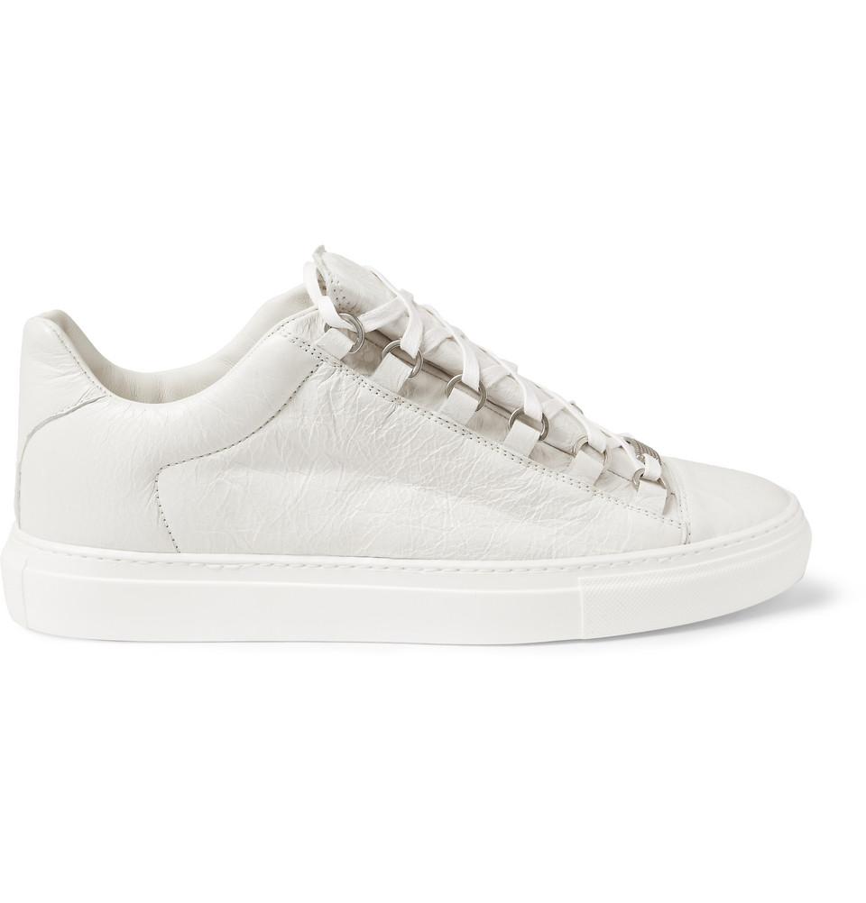 Arena Creased-leather Sneakers - WhiteBalenciaga hIfRBNdzxE