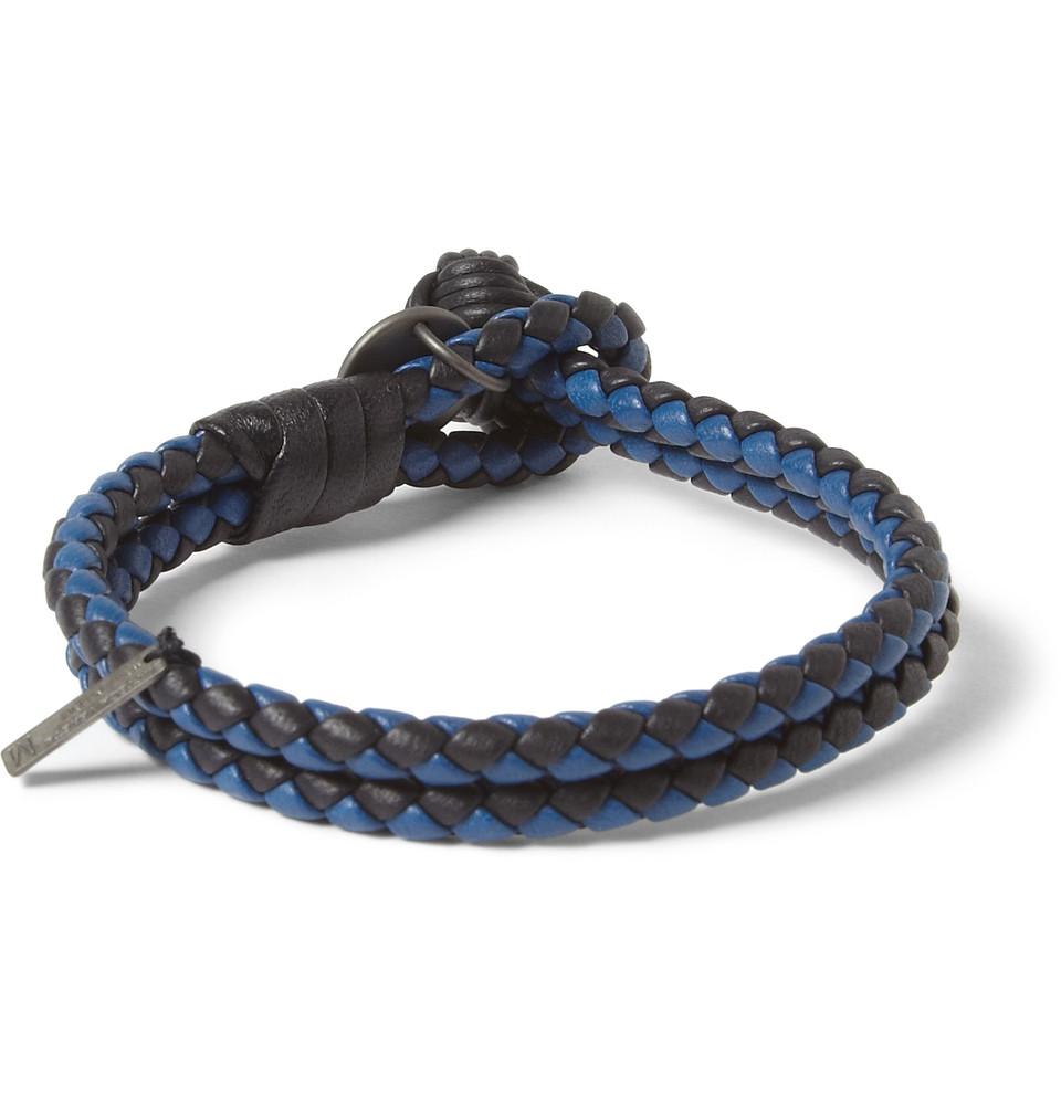 650edb2b74546 Bottega Veneta Twotone Intrecciato Leather Bracelet in Blue for Men ...