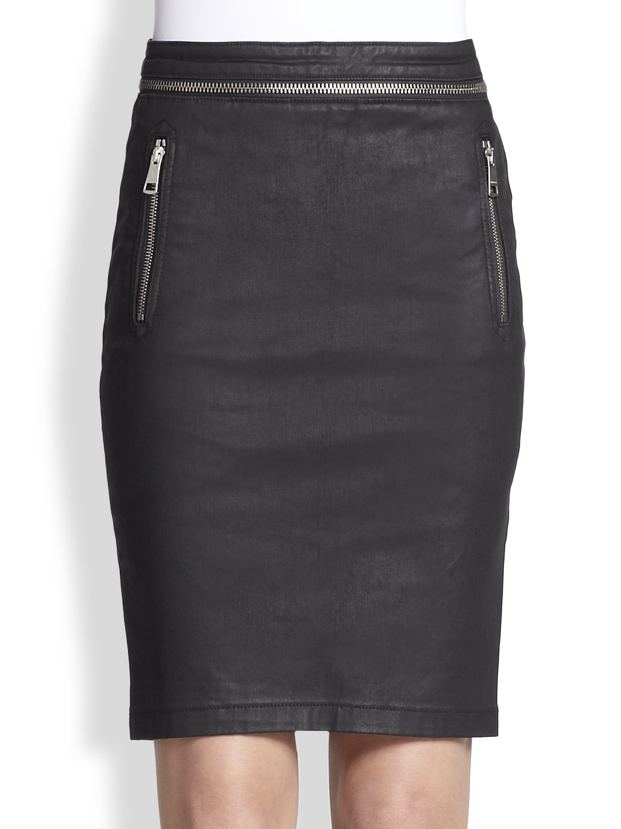 burberry brit waxed cotton pencil skirt in black lyst