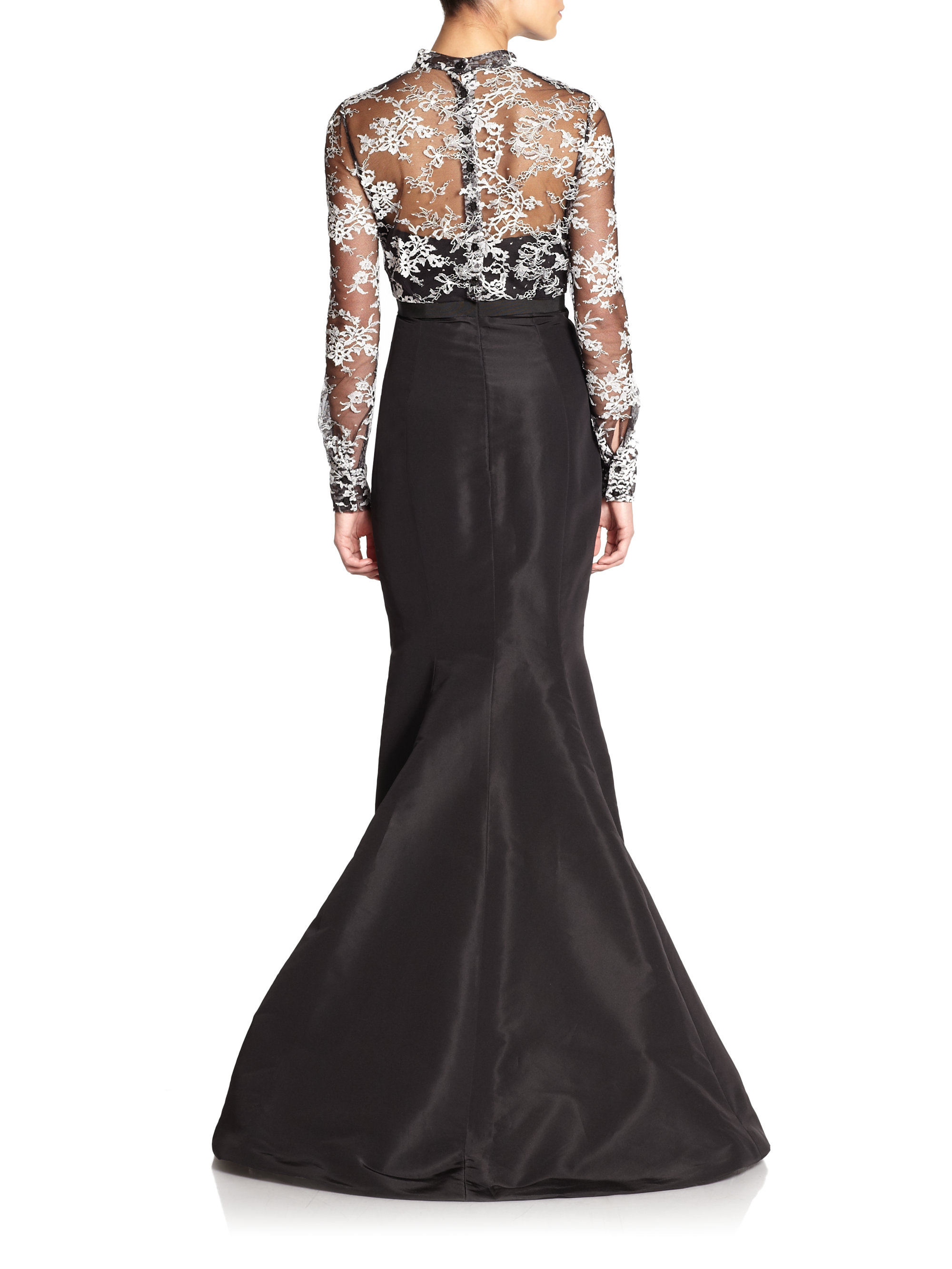Lyst - Carolina Herrera Laceoverlay Evening Gown in Black