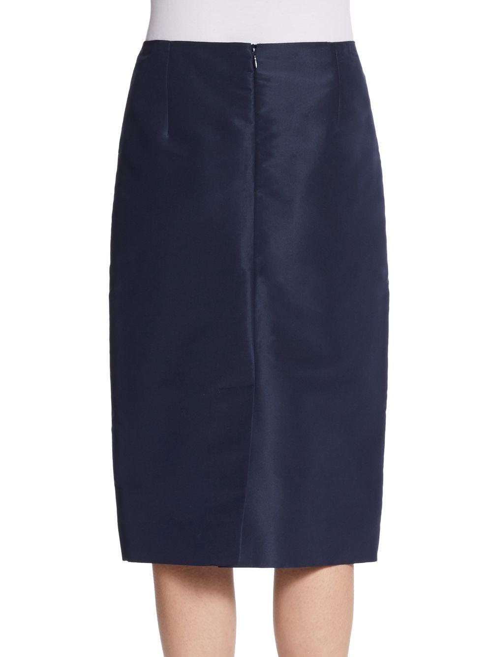 745d8222f9 Lyst - Carolina Herrera Silk Pencil Skirt in Blue