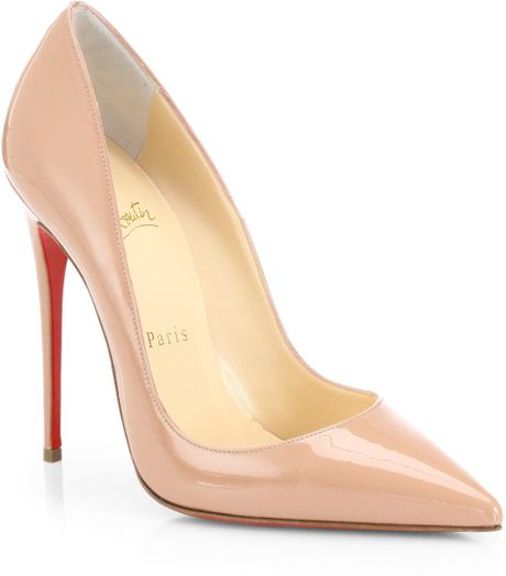 Christian louboutin so kate patent leather pumps in beige nude