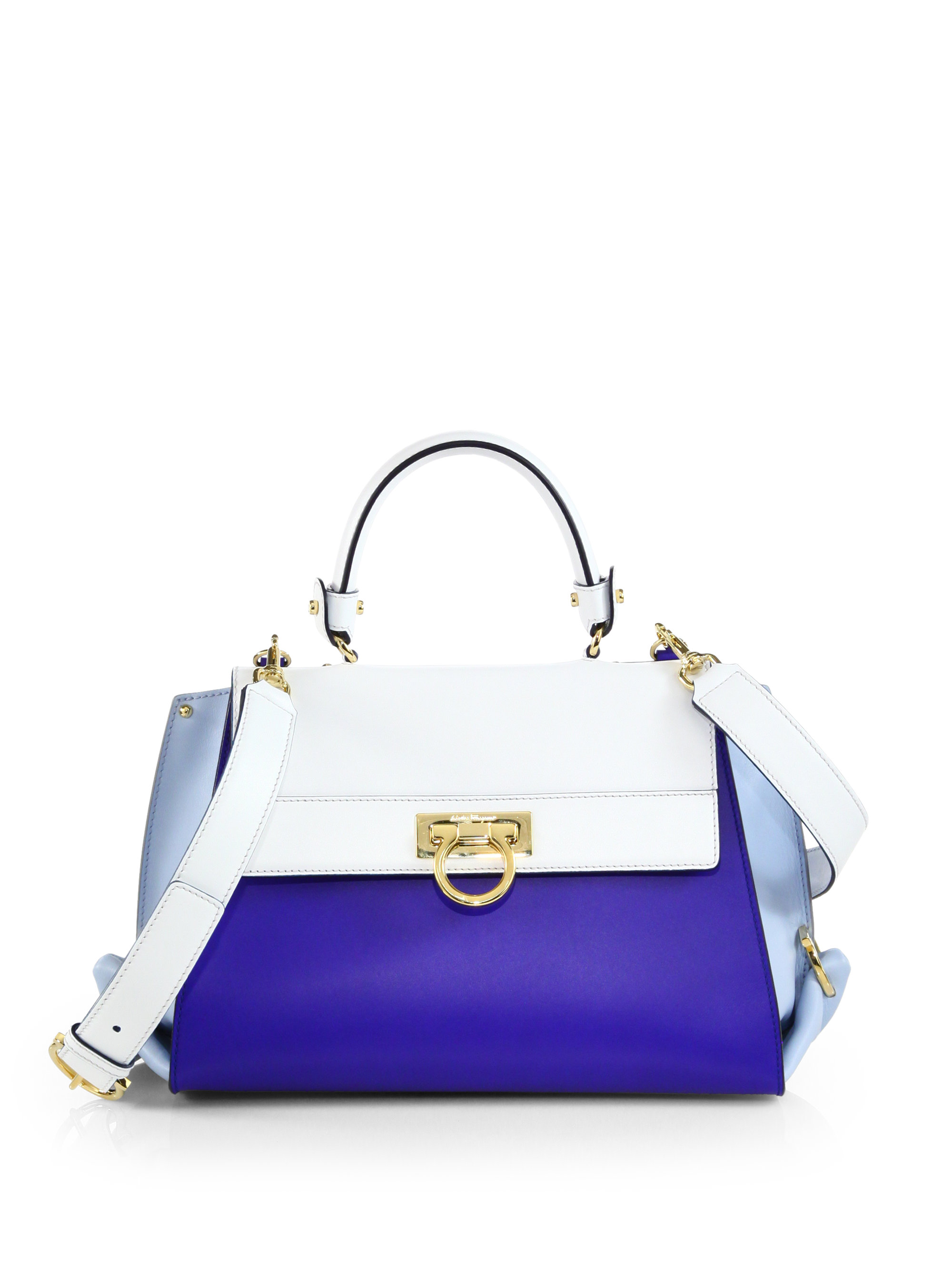 Ferragamo Sofia Colorblock Satchel in Blue (SAPPHIRE WHITE)