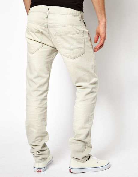 g star raw jeans low tapered comfort smoke in beige for. Black Bedroom Furniture Sets. Home Design Ideas