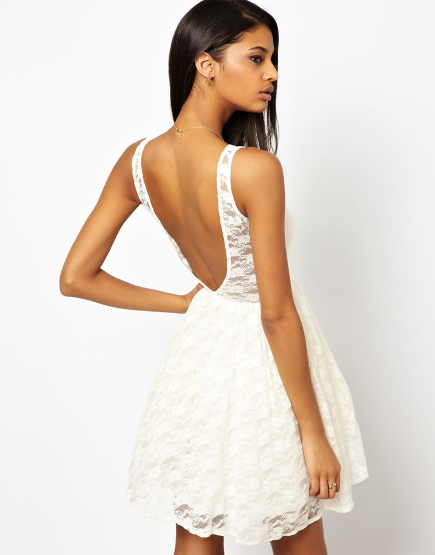 063be95e9b Lyst - John Zack Skater Dress in Lace with Deep V Back in Natural