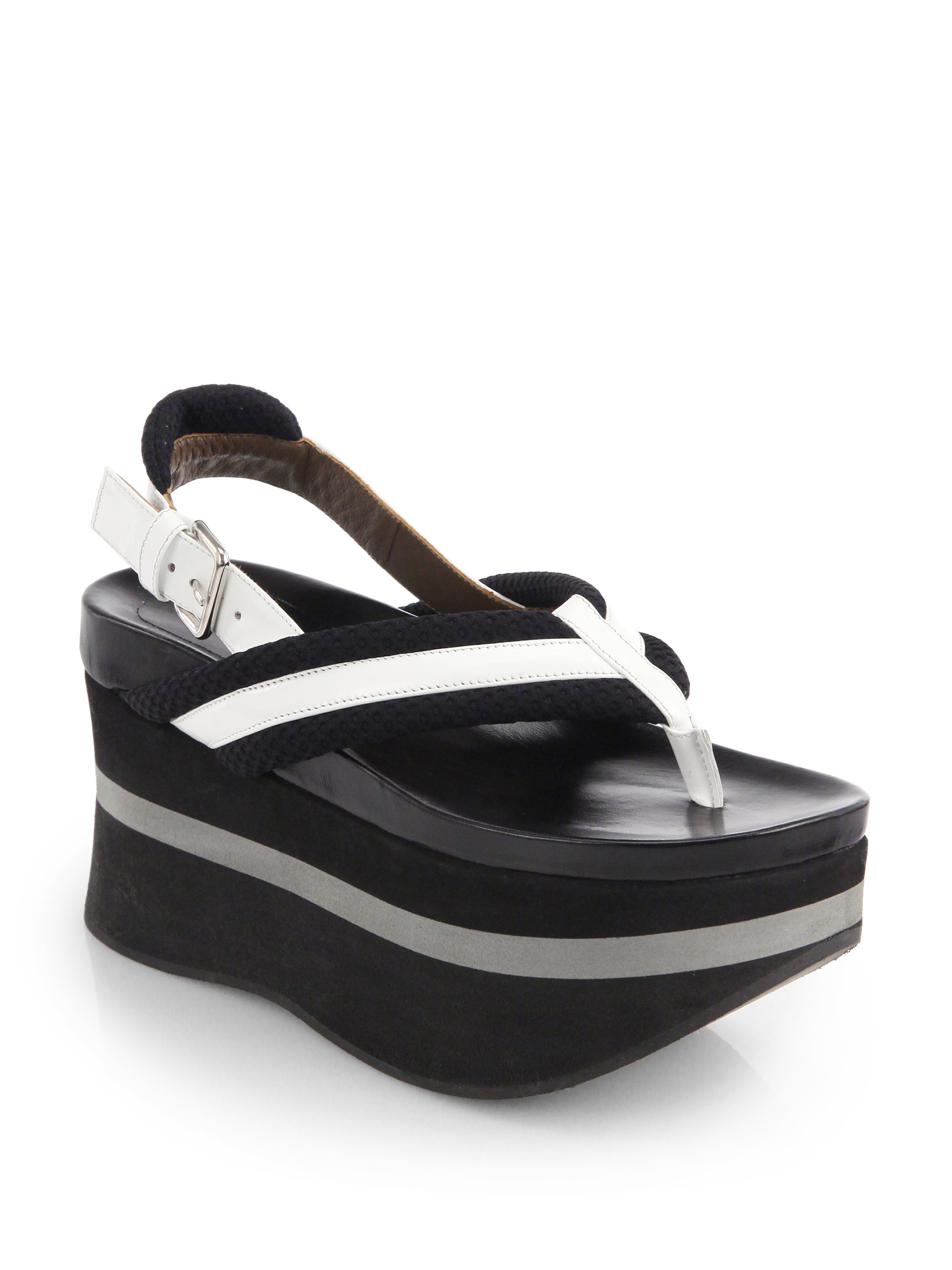 1da15dcbe0bce Lyst - Marni Patent Leather Canvas Platform Sandals in White