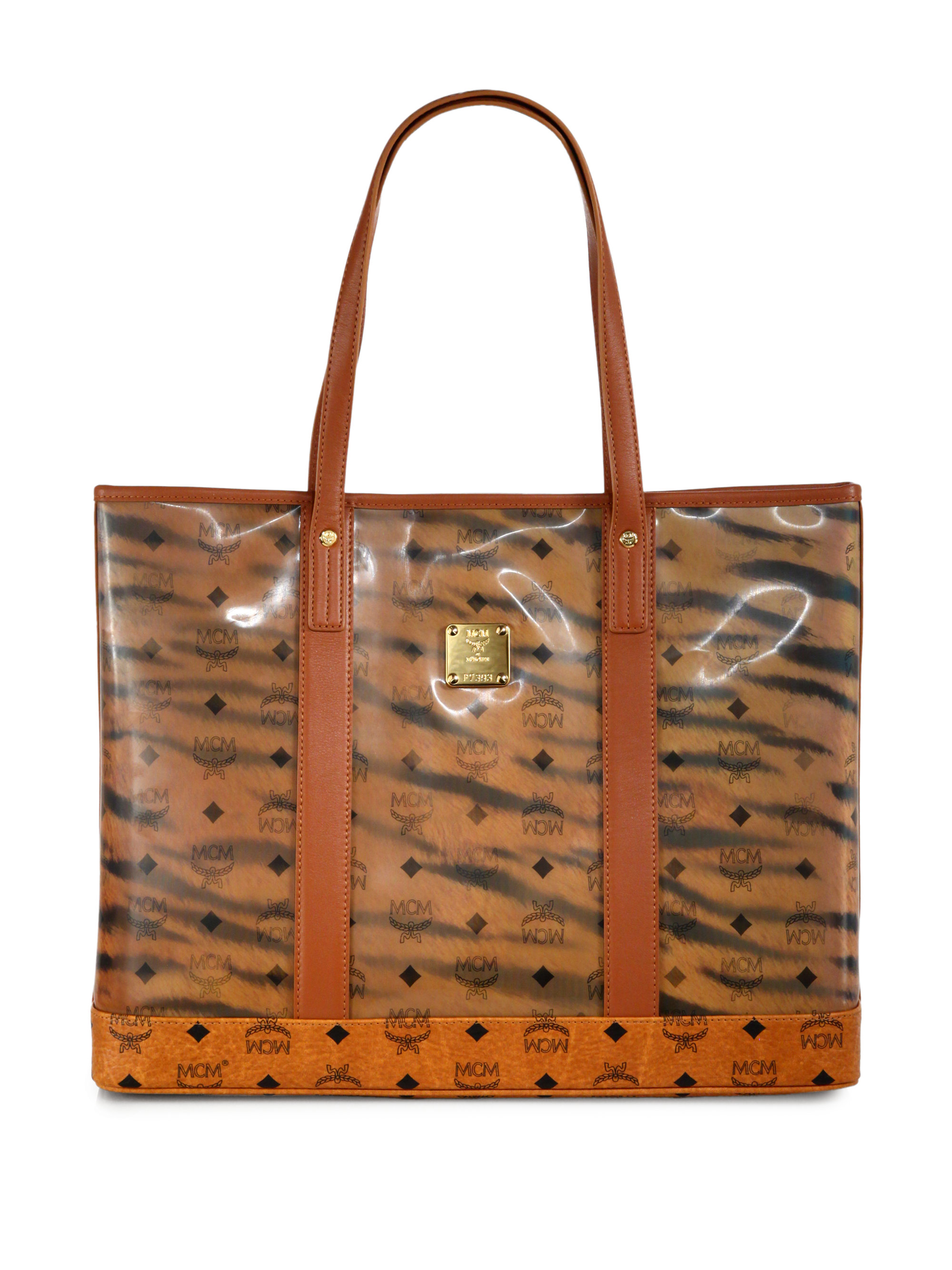 mcm tiger monogram tote bag in brown for lyst
