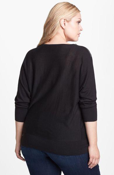 Michael Michael Kors Cowl Neck Zip Shoulder Sweater In