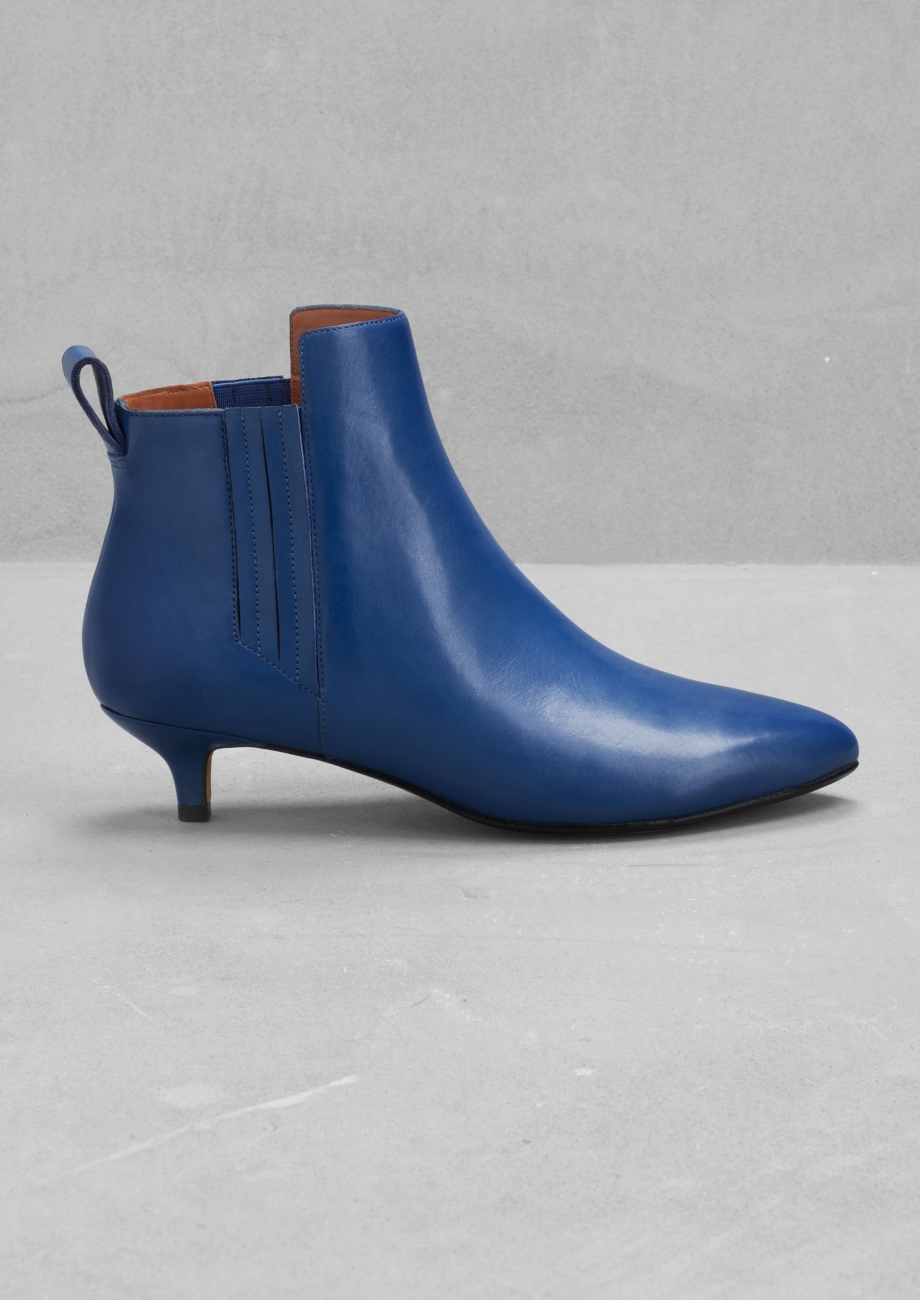other stories leather kitten heel ankle boots in blue