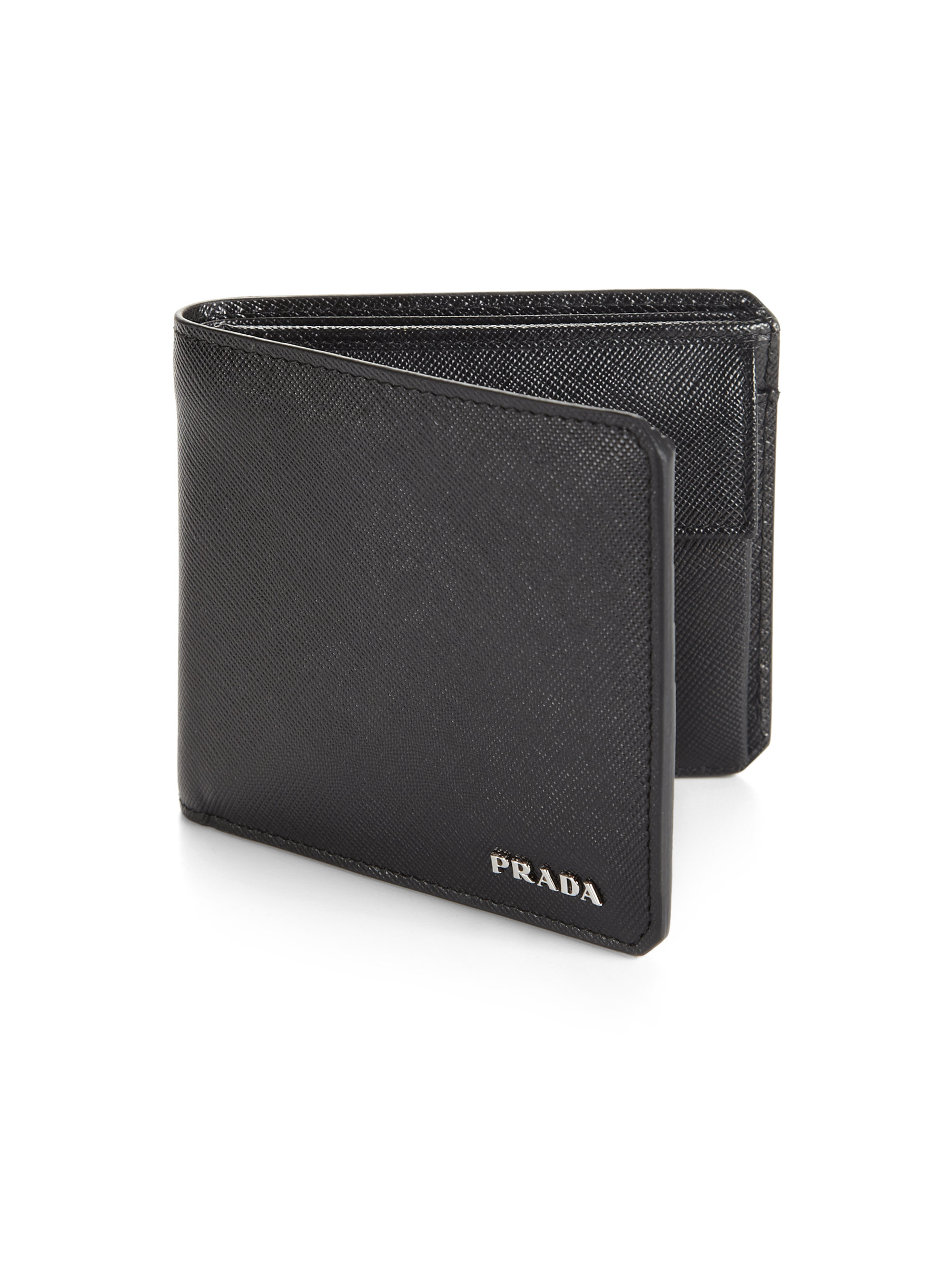prada leather wallet mens