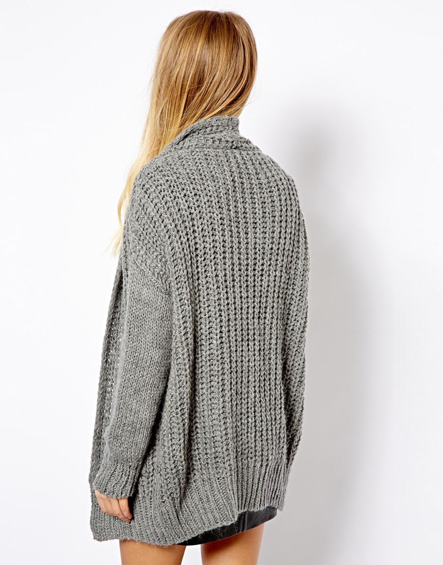 Pull&bear Pullbear Chunky Knit Cardigan in Gray | Lyst