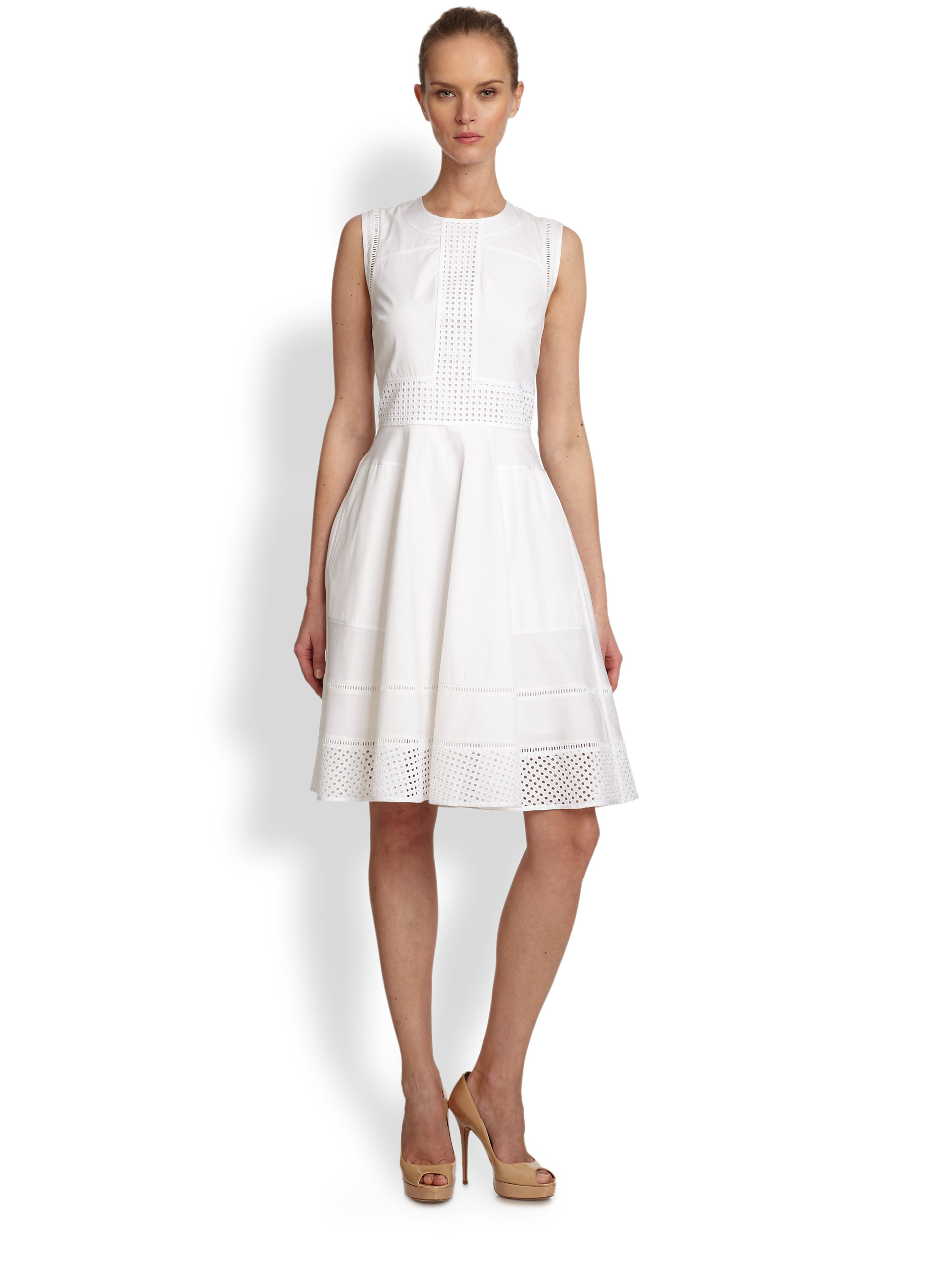 Rachel Roy Eyelet Lace Detail Dress In White Lyst