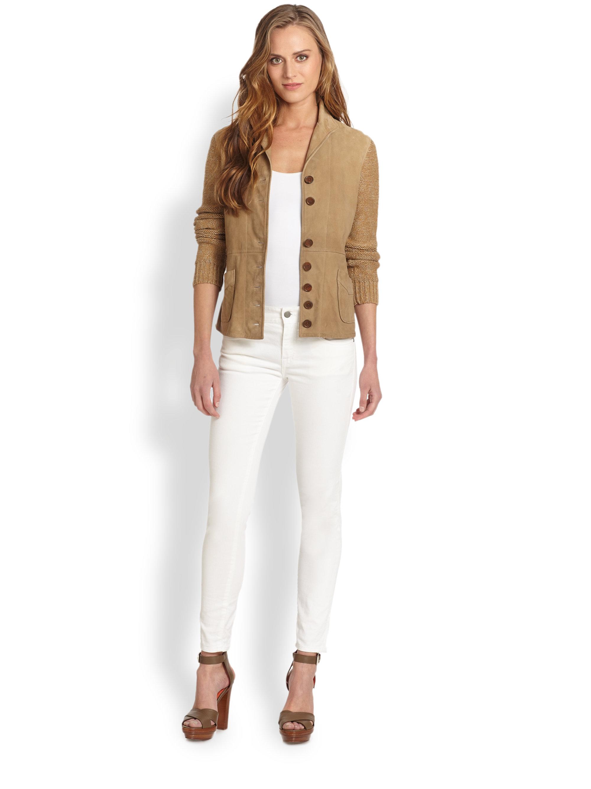 Lyst Ralph Lauren Blue Label Suede Linen Jacket In Brown
