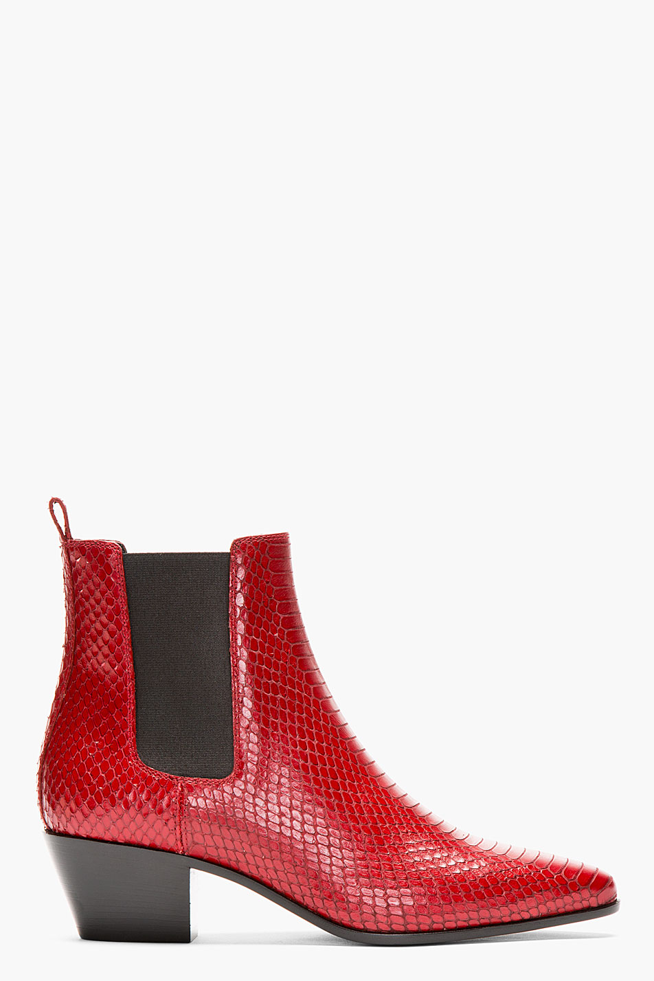 Lyst Saint Laurent Red Snakeskin Chelsea Boots In Red