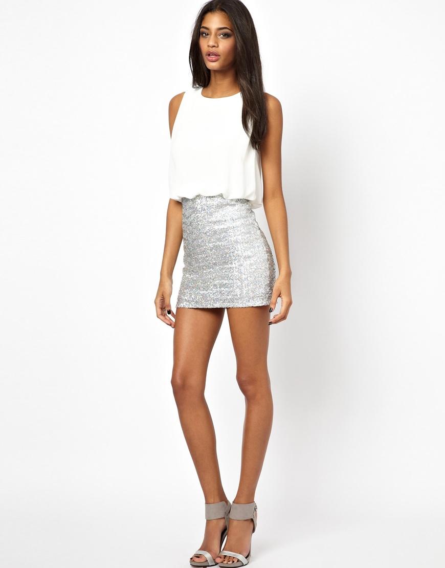 Tfnc london Mini Dress with Hologram Sequin Skirt in White | Lyst
