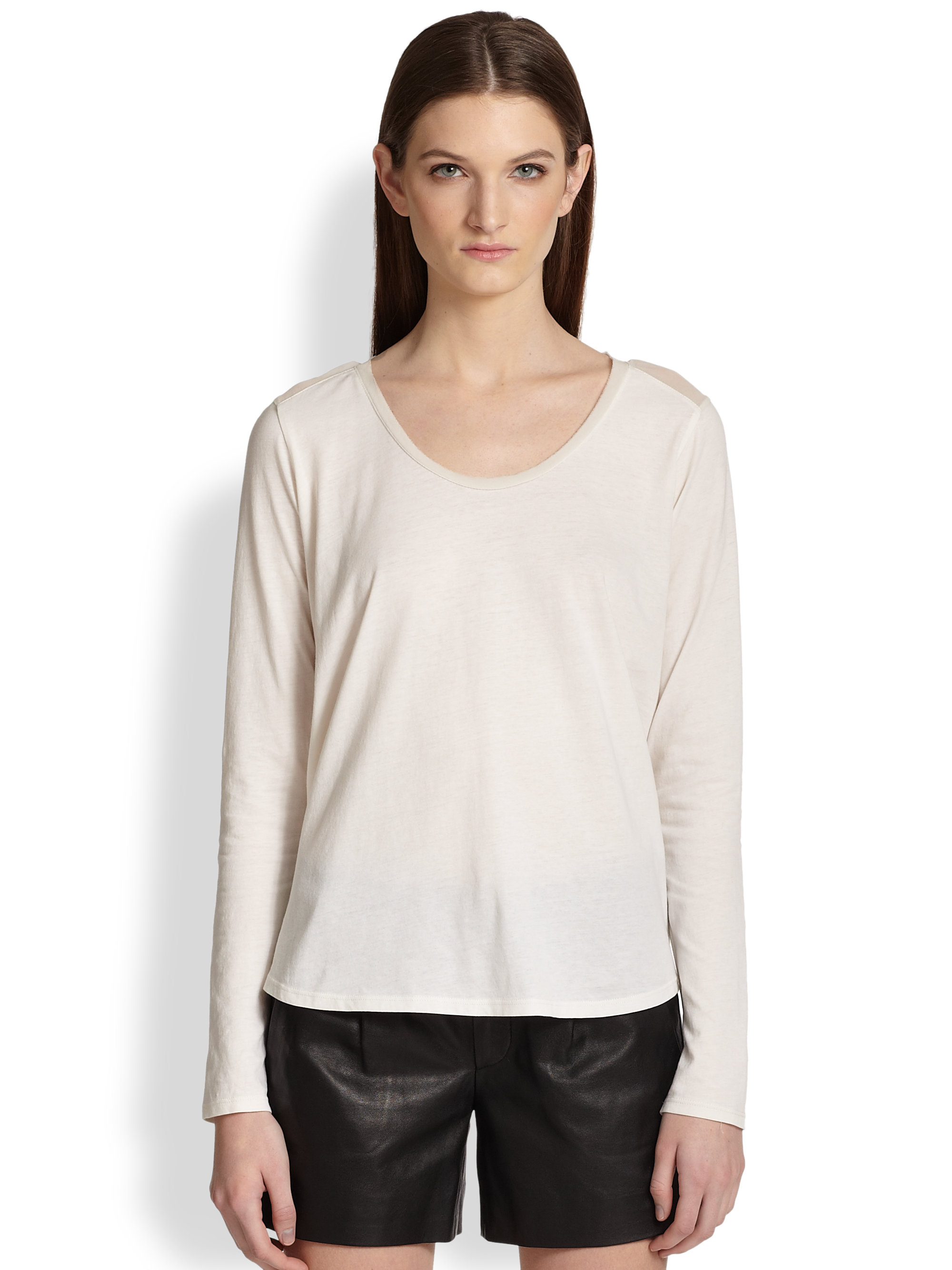 Vince silk panel tee in beige lyst for Vince tee shirts sale