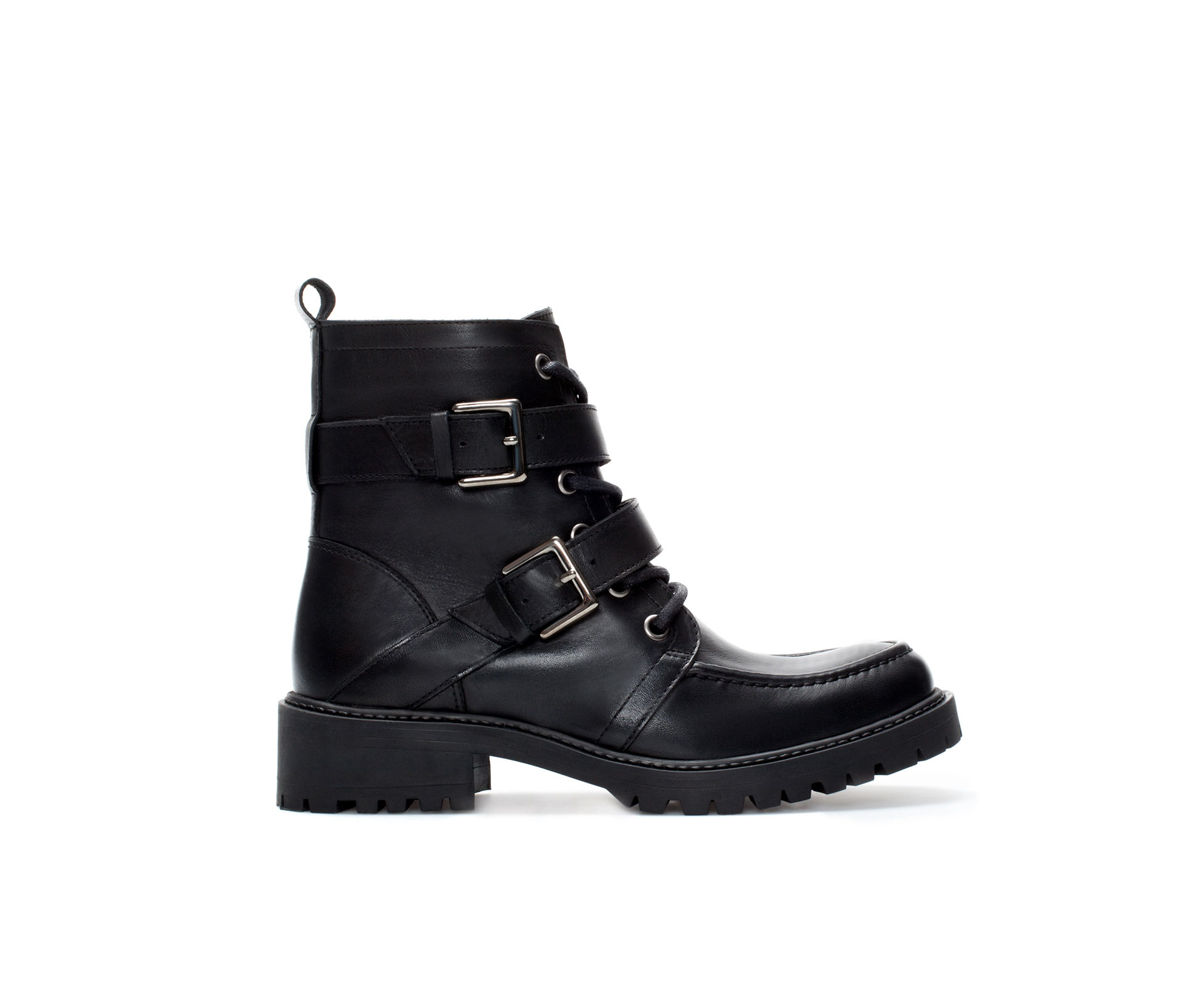 Zara Leather Lace Up Ankle Boot in Black | Lyst