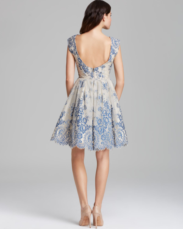 Alice Olivia Dress Fila Flare Lace In Blue Lyst