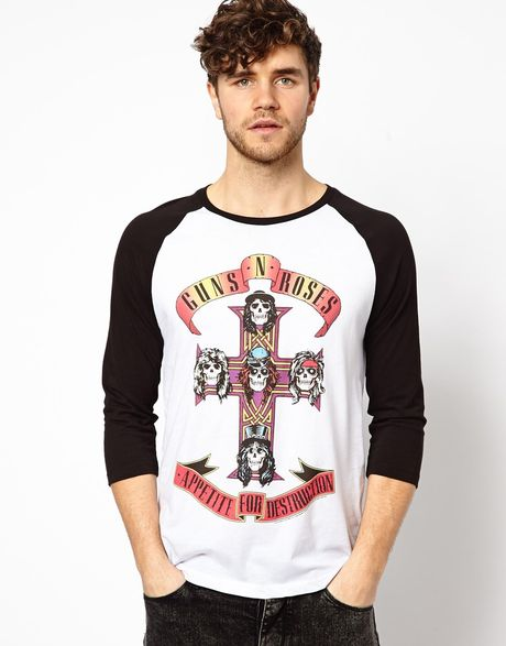 Asos 3 4 Sleeve Tshirt With Guns N Roses Print And