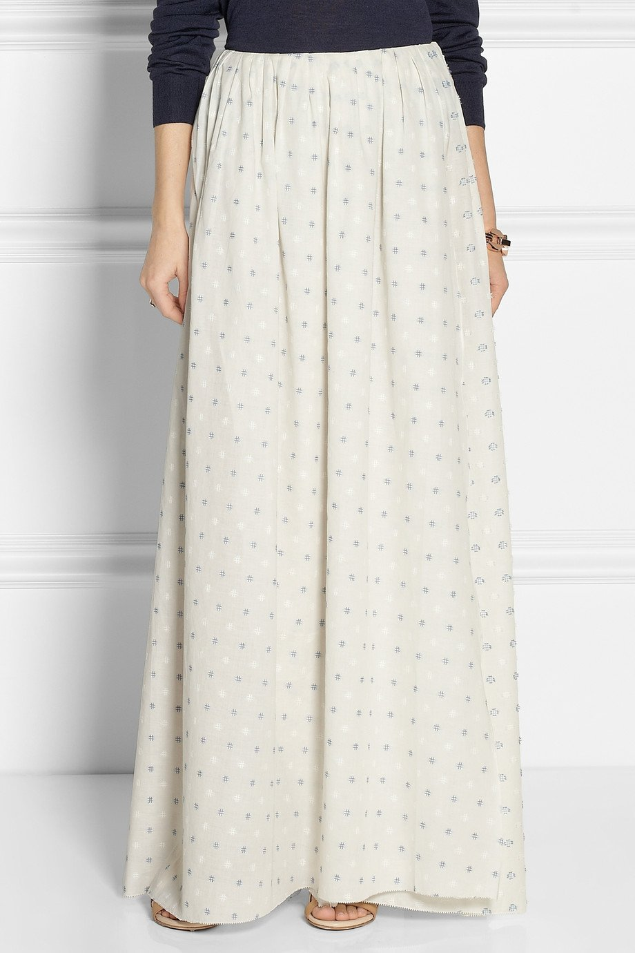 Band of outsiders Wrap Effect Embroidered Cotton Maxi Skirt in ...