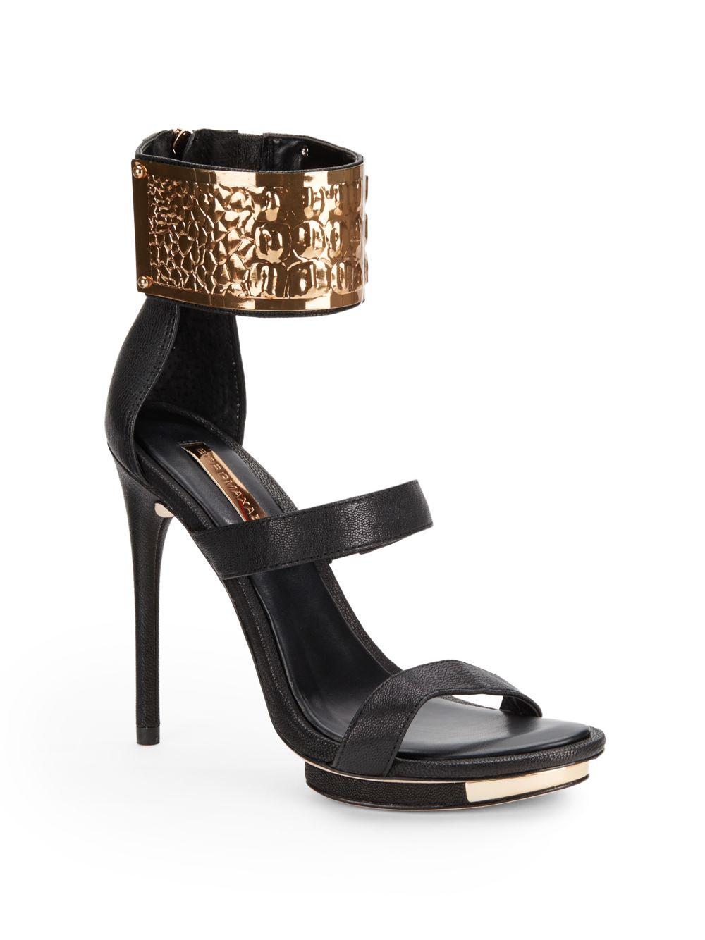bcbgmaxazria lest metallic ankle cuff sandals in black lyst
